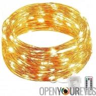 Lumière LED String «Nuit étoilée» - 10 mètres, 100 LEDs, 40 000 heures durée de vie, 8 Modes. Commande à distance 10M
