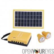 L'énergie solaire portable Kit - deux 1.7W panneaux solaires, 2 ampoules à LED étanche à la pluie, 4500mAh batterie Rechargeabl