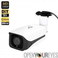 Couper 1/2.8 pouces CMOS IP caméra - Full HD 1080p, IR, Vision nocturne 40M, ONVIF 2.0, lentille Autofocus 2.8 à 12mm