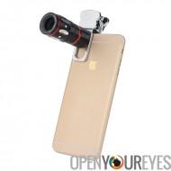 Universelle 4-en-1 Cell Phone Lens Kit - Lens X10 télescopique, Fisheye Lens, objectif Macro, Wide Angle Lens (argent)
