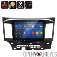 Mitsubishi Lancer 2 DIN voiture lecteur multimédia - 5.1.1 Android, processeur Quad-Core, écran de 10,2 pouces, GPS, Wi-Fi, Goo