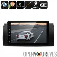 Deux DIN voiture Media Player pour BMW - écran de 9 pouces HD, 5.1 Android, Google Play, processeur Quad-Core, GPS, Radio FM, B