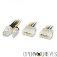 """Adaptateur secteur SLI Supply Et PCIe, 2 x 5.25"""" à 6 + 2 pôles"""