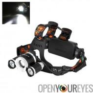 CREE XM-L T6 LED projecteur - 2400 lumens, 3 LEDs Cree, 4 Modes de lumière, harnais de tête réglable, fonction de Zoom