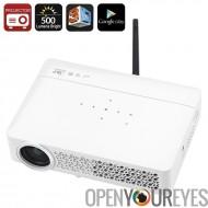 Portable Android DLP projecteur - Support de film en 3D, Android OS, 500 Lumens, Google jouer, construire-dans des haut-parleur