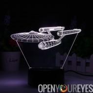 Lampe à LED 3D Enterprise NCC-1701 - thème Light, 8 Modes de lumière, 7 couleurs, pile AA, Port USB