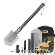 King Kong multi-outils pelle - Hoe, hache, boussole, couteau, tige de ferrocérium, acier à haut carbone durables + Aviation alu