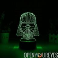 Dark Vador 3D LED Light - 7 couleurs, 2 Modes d'éclairage, alimentation par le biais de Micro USB ou piles AA, 5 Watt