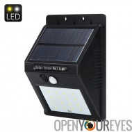 Solar Powered Outdoor LED éclairage de sécurité - 320Lumen, batterie de 2200mAh, 5.5V panneau solaire, capteur PIR, opération d