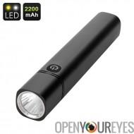 CREE LED Flashlight et Powerbank - 350 Lumen, lumière de 700K, batterie 2200mAh, Port USB, rétroéclairé bouton