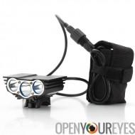 CREE XM-L U2 Bike Light «RoadRunner» - 3000 Lumens avant Bike Light + Rechargeable Battery Pack