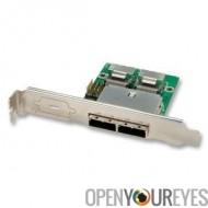 Adapter sur support MiniSAS à SFF8087 (interne) à SFF8088 (externe), 2 ports