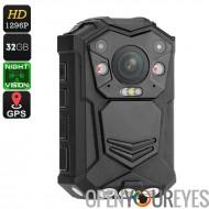 Police du corps usés caméra - 10M de Vision nocturne, 1296 p, objectif de 140 degrés, CMOS capteur, étanche IP65, 2 pouces, hor