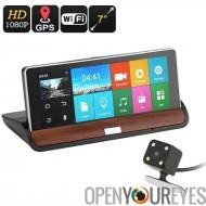 Kit de voiture DVR - Navigation GPS, écran 7 pouces, 2 caméras, système d'exploitation Android, 1080p enregistrement, 30FPS, je