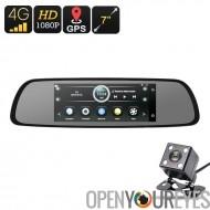 4G voiture DVR - Android OS, 1080 p 7 pouces caméra, caméra de recul Parking, affichage, GPS, WiFi, Google Play, Quad-Core, G-S