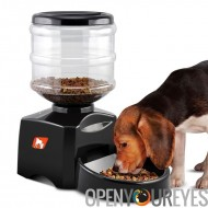 Mangeoire pour animaux de compagnie automatique - réservoir 5L, Supports sec alimentaire, sélectionnez portion, enregistrement
