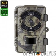 1080p Trail caméra - FHD vidéo, images de 16MP, PIR Sensor, 20m de Vision nocturne, IP66 étanche, horodatage, écran 2,4 pouces