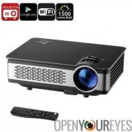 Projecteur HD Android - 1500 Lumen, 1280x768p, OS Android, 1 Go de RAM, Support, 120W LED, WiFi, haut-parleur intégré, Google 1