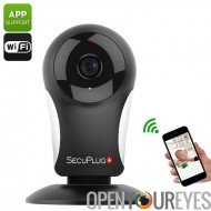SecuPlug + caméra IP SP05 - 960p, Wi-Fi, application Smartphone, 960P, Motion Detection, Notification d'alarme, deux voies Audi