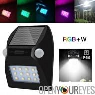 Outdoor LED Light - IP65 étanche, détecteur, Solar Powered, 3 Modes de capteur, 600mAh batterie, 100 Lumens