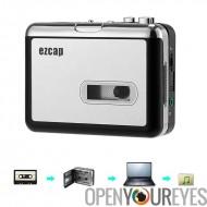 Cassette To MP3 Converter - aucun PC requis, Support carte SD de 32GB, 3.5mm Audio Jack, musique jouer arrière, 2 x piles AA