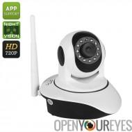 Caméra intérieure IP HD - 1/4-Inch CMOS, 720p, Vision nocturne 10m, détection de mouvement, PTZ, Support de l'App, WiFi sans fi