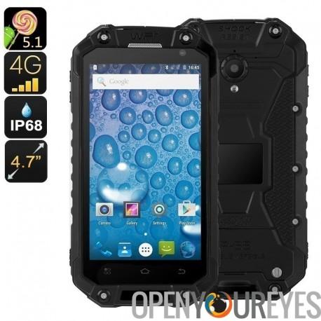 Téléphone Android robuste Jeasung X8G - CPU Quad-Core, 2Go de RAM, IP68, Dual-IMEI, NFC, OTG, écran HD, bi-bande WiFi, 4G (noir