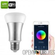 WiFi Smart LED ampoule - 16 millions de couleurs, 600 Lumens, WiFi, App Base E27 d'appui, 30 000 heures,