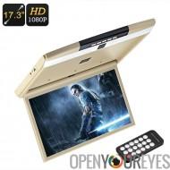 17,3 pouces toit Monitor - 1080p FHD, télécommande, transmetteur FM, 2 x Speaker, fente pour carte SD 32GB, 32GB Port USB