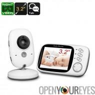 Vision de nuit sans fil bébé moniteur - 3,2 pouces écran, surveiller la température, double voies Audio, sans fil de 2,4 GHz, j