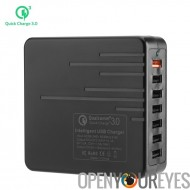 7 port USB chargeur - 1 x Charge rapide 3.0, 6 x USB 3.0, interrupteur d'alimentation, câble de 140cm, conception Durable