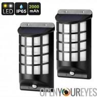 Outdoor LED solaire - détection de mouvement PIR, IP65 résistant à l'eau, panneau solaire, 2 pièces, 2000mAh
