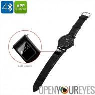 Smart H1 Sport Watch - Bluetooth 4.0, App, texte et appel rappel, podomètre, Calories brûlées, Distance Tracker, sangles en cui