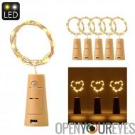 Lumière de LED en forme de Liège String - chaude lumière jaune, 3 x LR44 bouton batterie, 6 pièces, 90 cm longueur de chaîne, 1