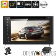 Nissan 2 DIN DVD lecteur - écran de 6,2 pouces, Android 6.0, Octa Core CPU, GPS, Bluetooth, voiture DVR, caméra de Parking, Reg