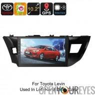 Un autoradio DIN - pour Toyota Levin, 10.2 pouces, écran HD Android 6.0, Octa-Core, 2Go de RAM, WiFi, GPS, 3G, BUS CAN, Bluetoo