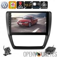 1 DIN autoradio - pour Volkswagen Jetta, voiture DVR, caméra de Parking, écran de 10,2 pouces, WiFi, 3G, BUS CAN, Octa-Core CPU