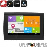 Android Navigation System - canal 22 GPS, écran 5 pouces, IPX5 étanche, Bluetooth, 32GB carte SD, 3.5 mm Audio Jack