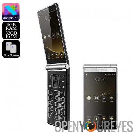 VKWorld T2 Plus double affichage Smartphone - processeur Quad-Core, Android 7.0, jeu de Google, Flip Design