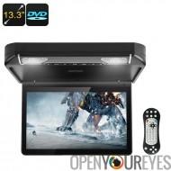 13,3 pouces voiture lecteur DVD - Moniteur de toit, résolution HD, HDMI, AV, USB, SD, région Free DVD, haut-parleurs intégrés,