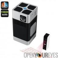 PC01 DLP haute définition projecteur - 260 Lumen, Support de la 3D, clavier Laser, système d'exploitation Android, Dual Band Wi